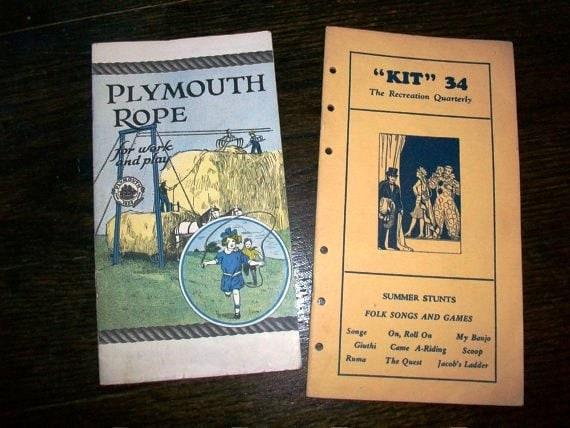 Vintage 1930s Game Booklets Summer Stunts Songs Games and Plymouth Rope for Work and Play
