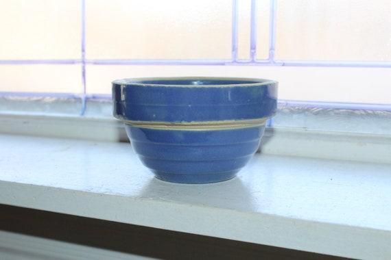 Vintage Blue Stoneware Bowl 5 Inch Rustic Farmhouse Decor