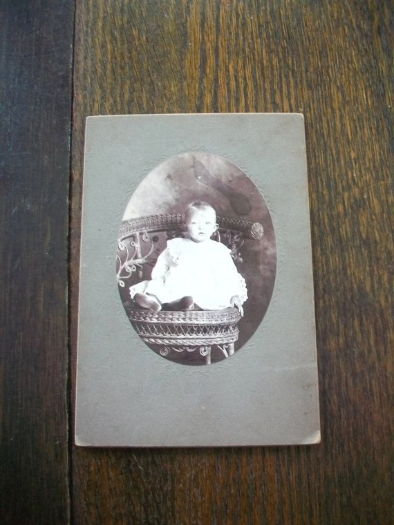 Vintage Cabinet Card Photograph 1800s Victorian Child 6 1/2 x 4 1/2