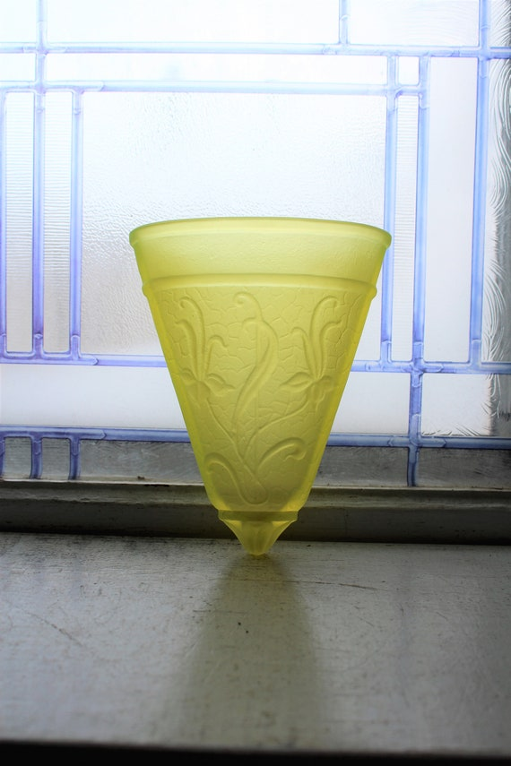 Vintage Yellow Satin Vaseline Glass Wall Pocket with Embossed Flowers