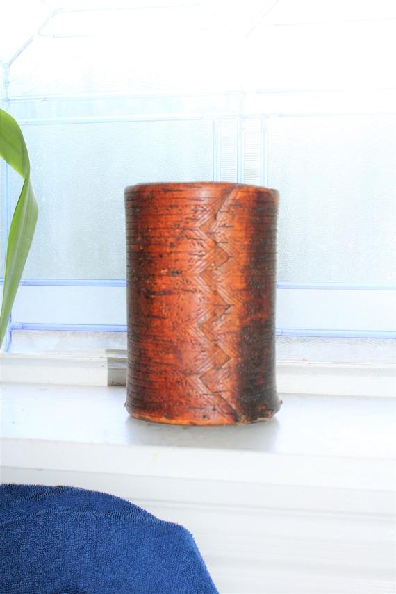 Antique 1800s Scandinavian Carved Bent Wood Nordic Pantry or Spice Jar