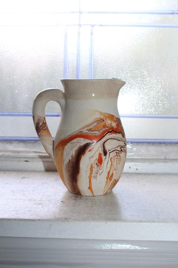 Vintage Nemadji Pottery Pitcher Swirl Pottery