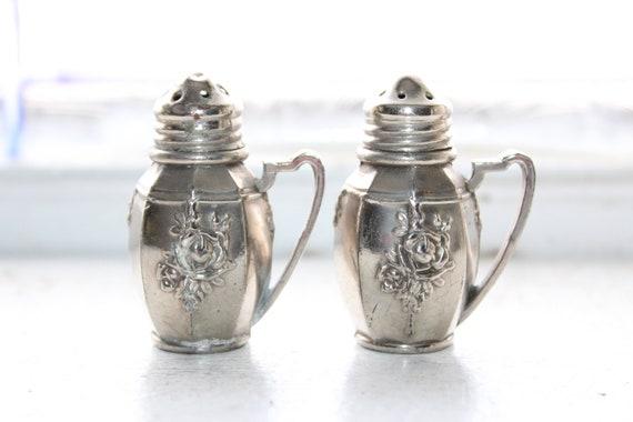 Vintage Salt and Pepper Shakers Embossed Rose Metal with Handles