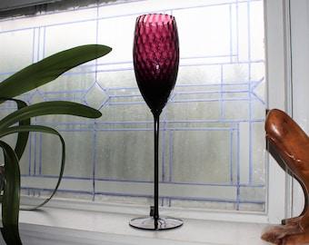Large Vintage Empoli Glass Amethyst Purple Balloon Vase