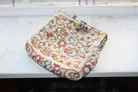 Vintage Micro Glass Beaded Purse Evening Bag Brunin Paris