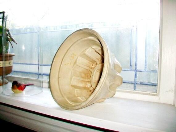 Antique Pudding Mold Large Gray Stoneware 1800s