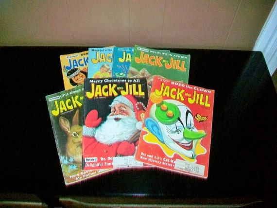 7 Jack and Jill Magazines Vintage 1967 Children's Books Scary Clown Included