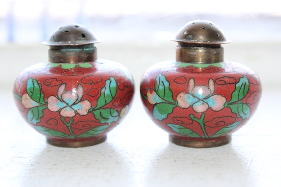 Antique Chinese Cloisonne Salt and Pepper Shakers