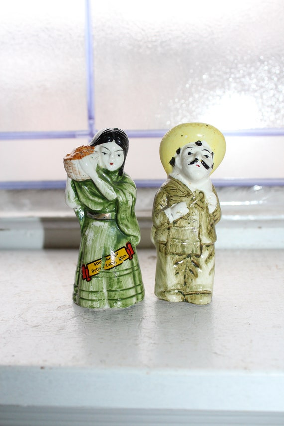 Vintage Salt and Pepper Shakers Mexican Man and Woman Detroit Lakes MN
