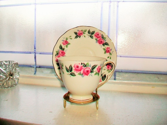 Queen Anne Tea Cup and Saucer Pink Roses Vintage Bone China Made in England