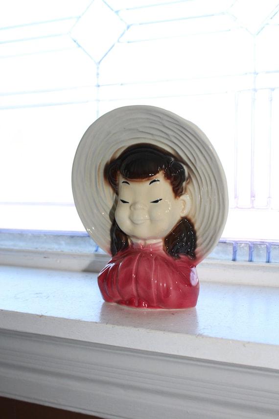 Royal Copley Wide Brim Hat Asian Girl Wall Pocket Vintage 1950s