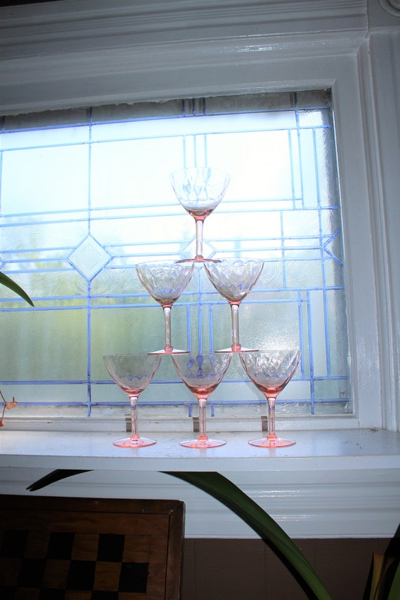 6 Pink Depression Glass Wine or Champagne Glasses 1930s Diamond Optic