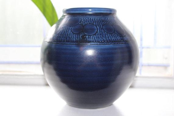 Cobalt Blue Studio Pottery Vase with Orbs Handmade Bailey Pottery