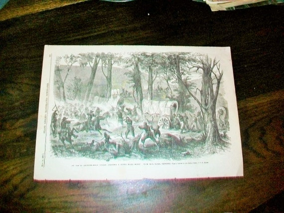 Civil War Battle Print 1863 Frank Leslie's Illustrated Newspaper Antique