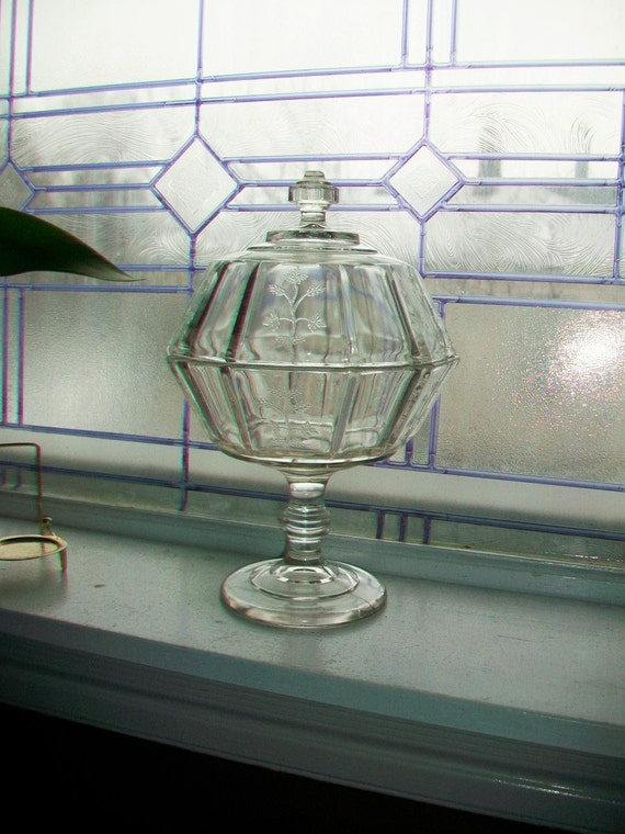 Antique Glass Compote Bryce Higbee Paneled Sprig EAPG Circa 1885 Indian Tree