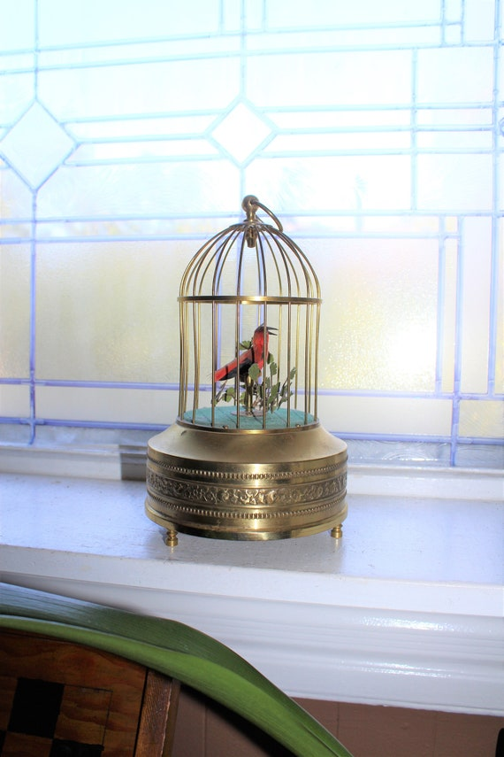 Vintage Singing Bird in Cage Automaton Music Box Made in Germany