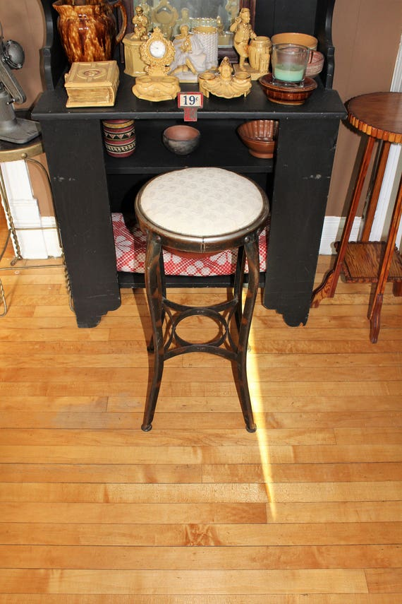 Vintage Kitchen or Bar Stool Padded Seat Rustic Farmhouse Decor