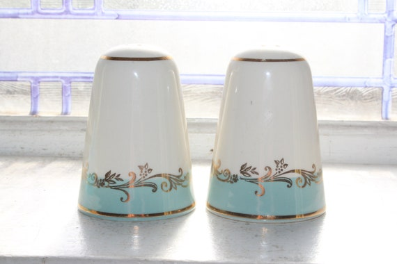 Vintage Salt and Pepper Shakers Lifetime China Gold Crown Blue & White
