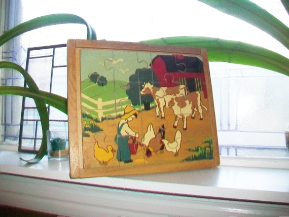 Vintage Wooden Puzzle Child's Room Decor 1930s Farm Scene