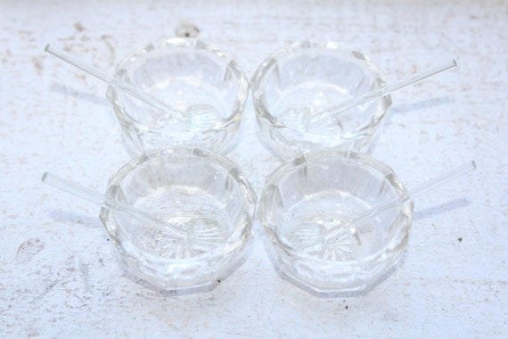 Antique Victorian Crystal Glass Salt Dips Set of 4 with Glass Spoons
