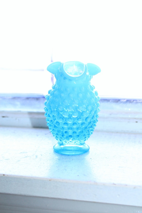 Vintage Glass Vase Fenton Blue Opalescent Hobnail