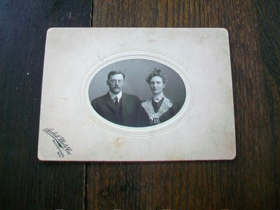Vintage Cabinet Card Photograph 1800s Victorian Couple 7 x 5