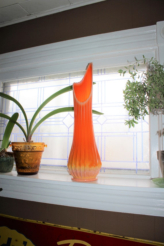 "Large Orange Glass Vase 22.75"" Vintage Mid Century Modern Swung Glass"