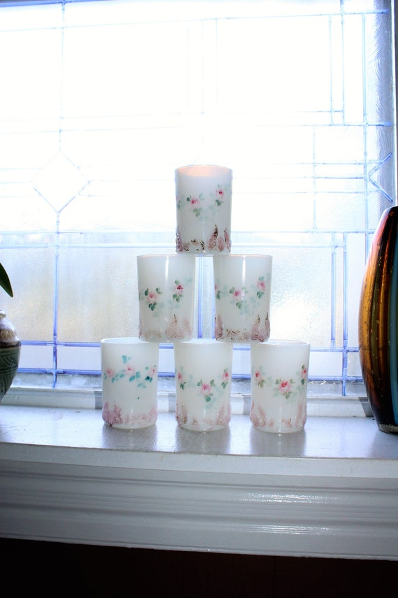6 Milk Glass Tumblers Antique EAPG Pink and White