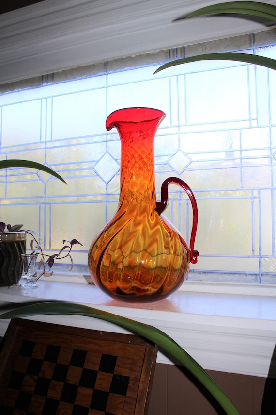 "Huge Vintage Blenko Amberina 16"" Pitcher 1960s Art Glass"