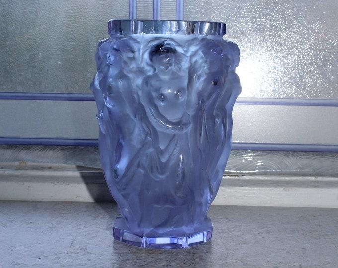 Vintage Bohemian Czech Zelezny Art Glass Vase Purple with Nudes
