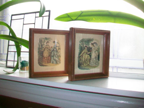 Pair of 19th Century La Mode Illustree Prints in 1950s Frames