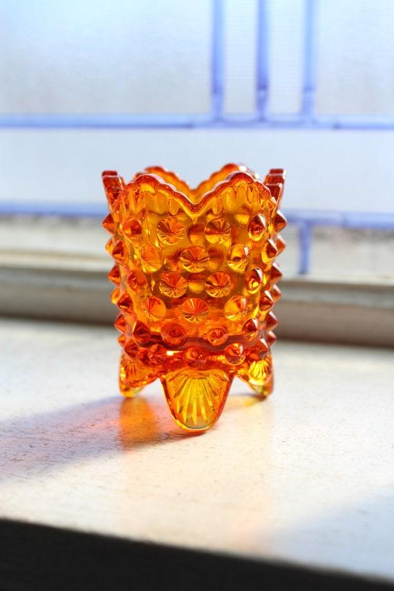 Vintage Footed Toothpick Holder Fenton Orange Glass Hobnail