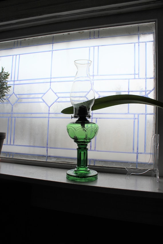 Antique Forest Green Glass Oil Lamp