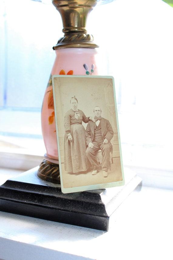 Vintage Carte De Visite Photograph Country Couple 1800s
