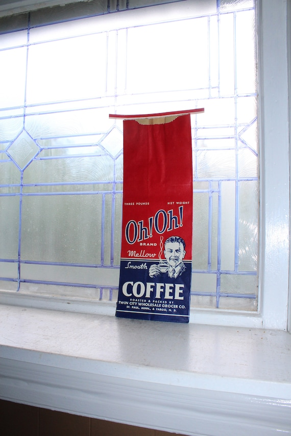 Vintage Oh! Oh! Coffee Bag 3 Lb 1950s Kitchen Decor
