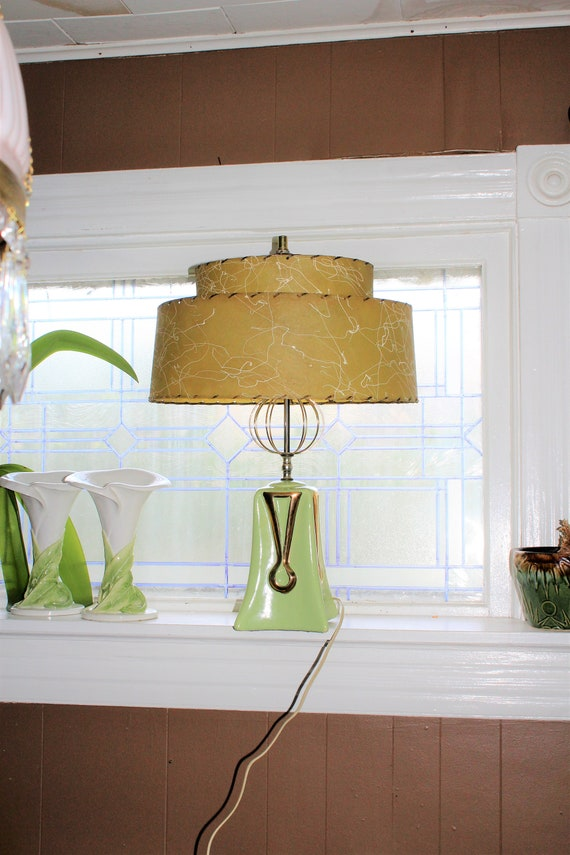 Vintage Mid Century Lamp and Two Tier Shade 1950s Green and Gold