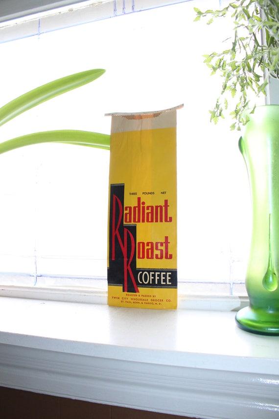 Vintage Coffee Bag Radiant Roast 3 Lbs 1950s Kitchen Decor