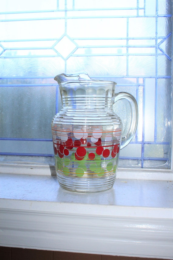 Mid Century Glass Pitcher with Ice Lip Red White Green Vintage 1950s