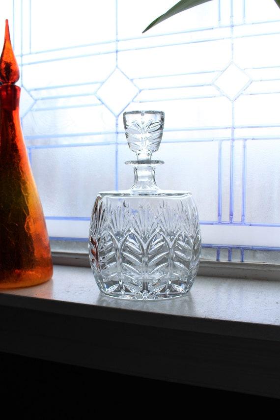 Vintage Crystal Liquor Decanter Oval Barware
