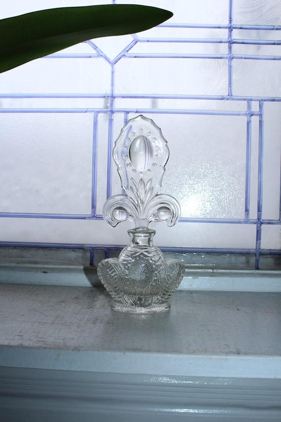"Large Vintage Glass Perfume Bottle 7.75"""