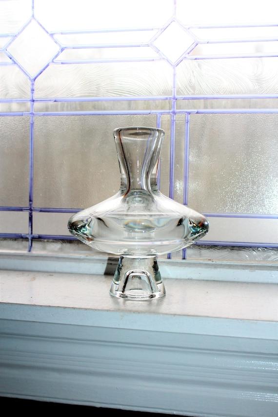 Large Vintage Kosta Boda Clear Glass Disc Bud Vase Mid Century Modern