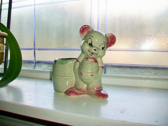 Teddy Bear Planter Vintage 50s Ceramic Gray and Pink