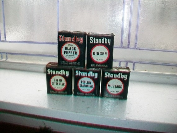 5 Vintage Kitchen Tins Standy Spices Black and White Tins