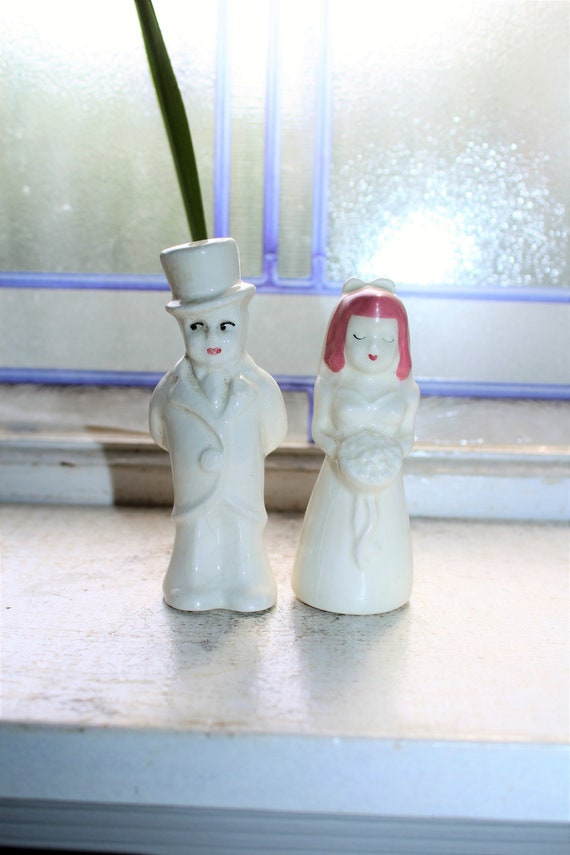 Vintage Salt and Pepper Shakers Bride and Groom