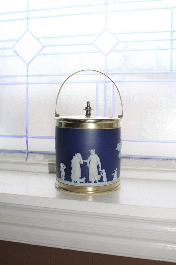 Antique Wedgwood Jasperware Biscuit Jar Dark Blue Circa Early 1800s