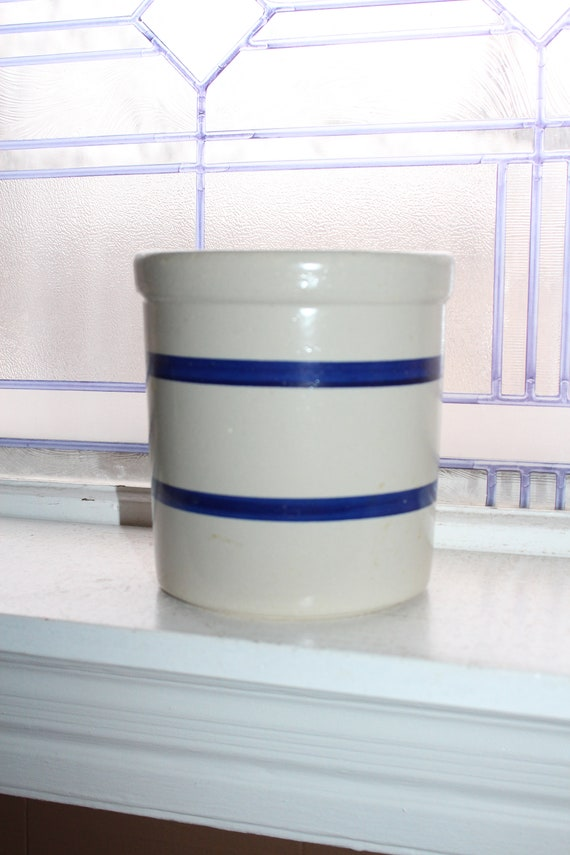 Vintage Blue Striped Crock Jar Stoneware Rustic Farmhouse Decor