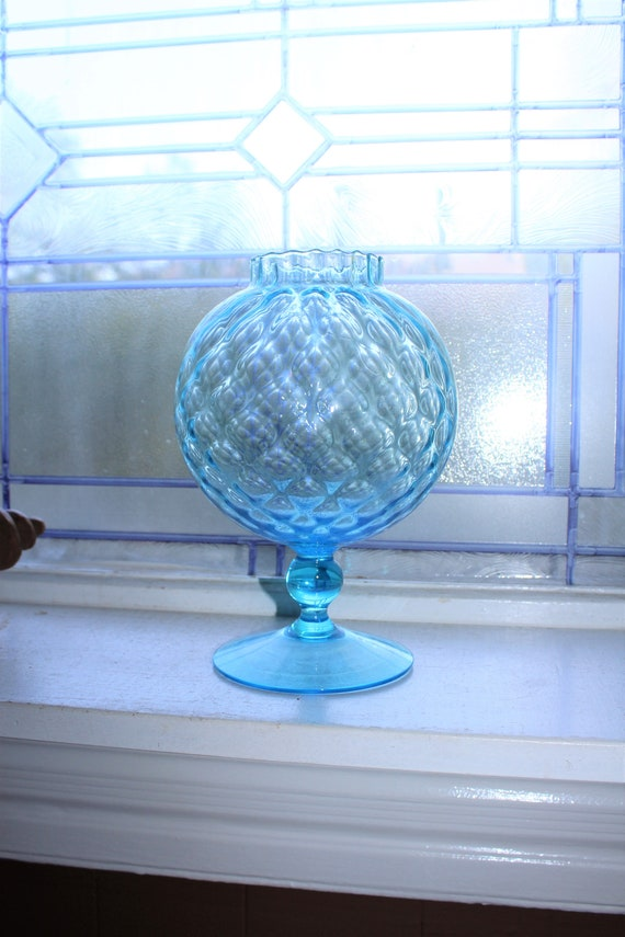 Vintage Blue Quilted Glass Ivy Ball Vase 2 Available
