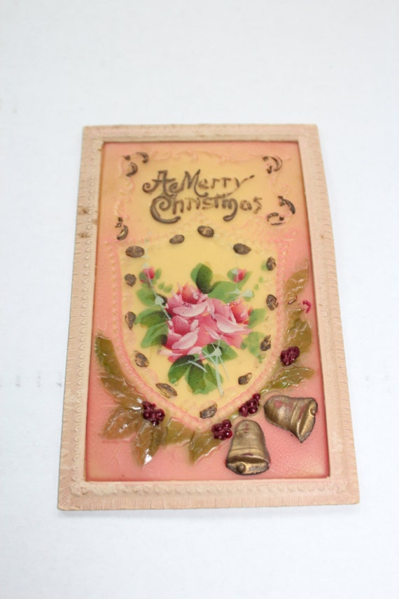 Antique Christmas Postcard Celluloid A Merry Christmas