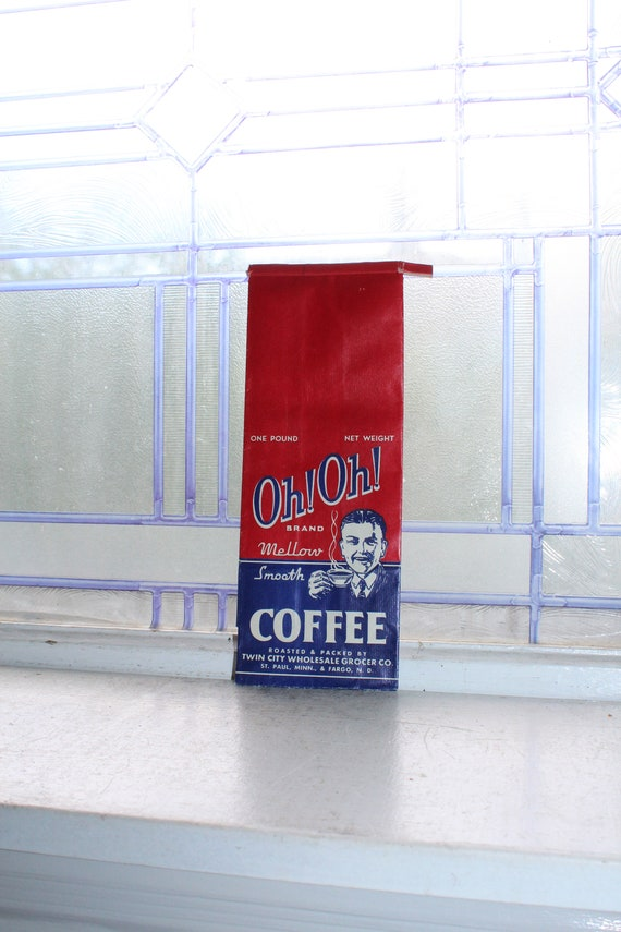 Vintage Oh! Oh! Coffee Bag 1 Lb 1950s Kitchen Decor