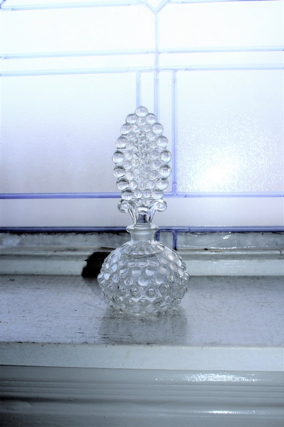 Large Vintage Art Deco Perfume Bottle Hobnail Glass
